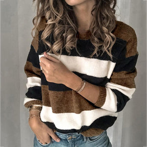 Striped Crew Neck Long Sleeve Pullover
