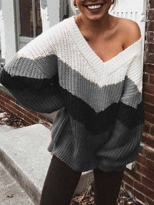 Multicolor Casual Long Sleeve V Neck Sweaters