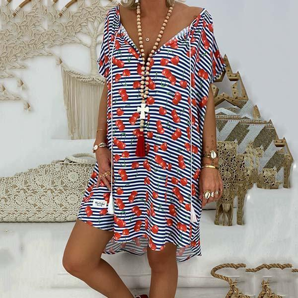 Loose Printed V Neck Tassel Dress