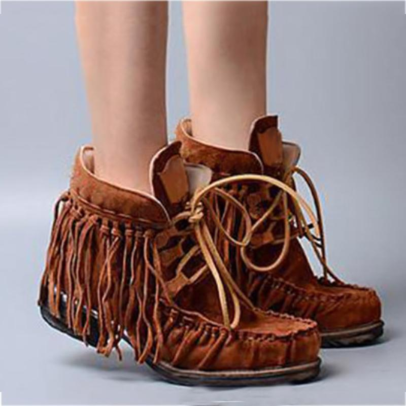 Casual Lace-Up Fringed Boots