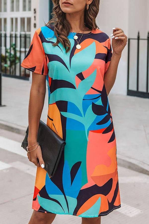 Abstract Leaf Print Casual Short Sleeves Midi Dress