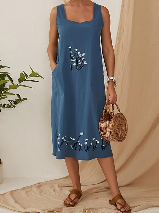 Women's Shift Dress Midi Dress - Sleeveless Floral Pocket Summer Square Neck Plus Size Casual 2020 Black Blue Khaki L XL XXL XXXL XXXXL XXXXXL