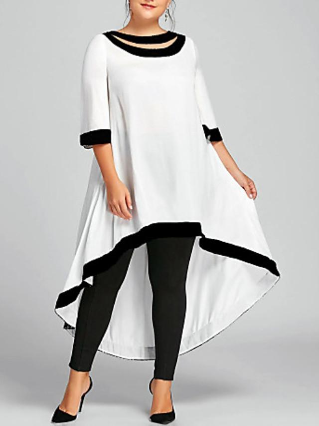Women's Plus Size Midi Dress - 3/4 Length Sleeve Backless Spring & Summer Sexy 2020 Wine White Black Blue Navy Blue S M L XL XXL XXXL XXXXL XXXXXL