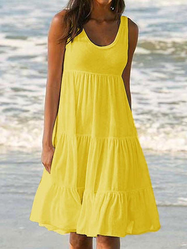 Women's Sundress Knee Length Dress - Sleeveless Summer Casual Vacation Beach 2020 White Black Blue Yellow Blushing Pink Fuchsia Green S M L XL XXL XXXL XXXXL XXXXXL