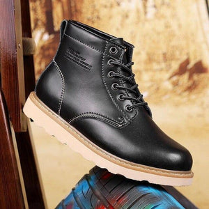 PU Leather Men Boots British Style Men Casual Shoes Increase Soft Spring Autumn And Winter Man Shoes Ankle Boot Men Snow Shoe Work