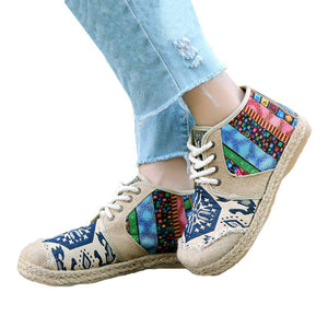 Embroider Shoes Women Ankle Boots Flat Autumn Shoes Comfortable Lace-Up Shoes Flats