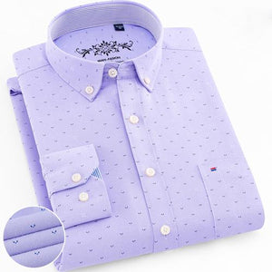 Mens Long Sleeve Solid Oxford Dress Shirt with Left Chest Pocket High-quality Male Casual Regular-fit Tops