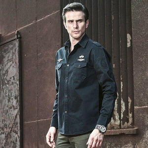 Men Military Style Tactical Shirts Cargo Tops Air Force Cardigan Long Sleeve Plus Size Shirt