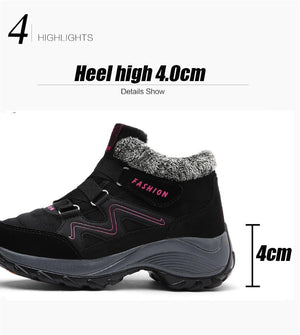 Winter women snow boots women warm push ankle boots high wedge waterproof boots rubber hiking boots shoes