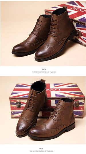 Men PU Leather Ankle Oxford Boots British Style Male Casual Lace Up Derby Shoes Retro Carved Flower Brogue Shoes