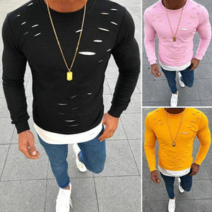 Fake Two Pieces Hole Irregular Mens T-Shirt Good Quality Patchwork Elastic Long Sleeve Male Solid O-Neck Tshirt