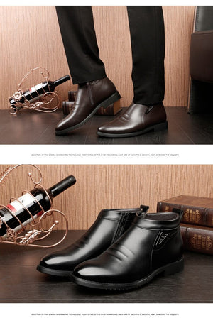 Winter vlevet Retro Men Boots Comfortable Zipper Brand Casual Shoes Split Leather Snow Boots shoes