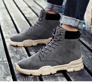 Men PU Leather Ankle Snow Boots Shoes Motorcycle Fur Plush Warm Classic Fashion Desert Boot Shoes
