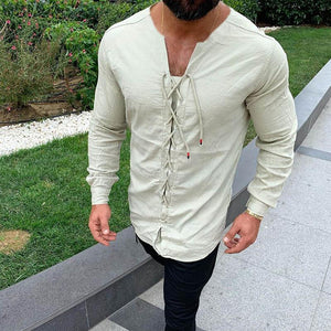 Men's Casual Pure Colour Tether Cotton Linen Shirts Slim Fit Social Round Neck Blouses Top