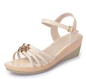 Women Wedged Sandals Genuine Leather Mother Sandals Large Size