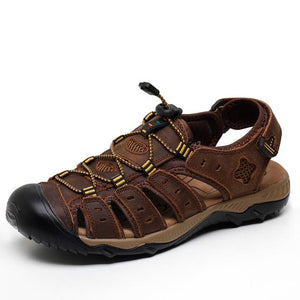 Men's Genuine Leather Sandals Summer Beach Breathable Causal Shoes Plus Size