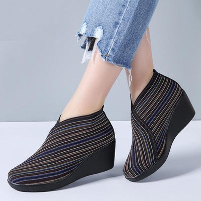 Corachic.com - Women Flat Platform Slip on Casual Leather Loafers Black Fabric Flats
