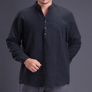 Men Long Sleeve Henley Casual Shirt Vintage Retro Clothing