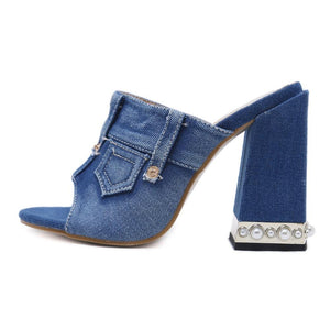 Women Denim Peep Toe Sandals High Heels Thick High Heel Mules Sides Shoes