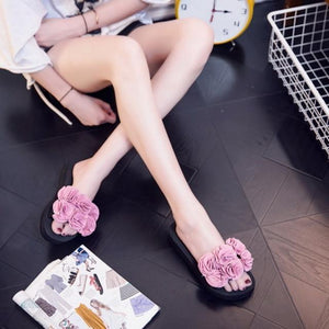 Women Flower Platform Sandals Slipper Outdoor Flip-flops Beach Shoes