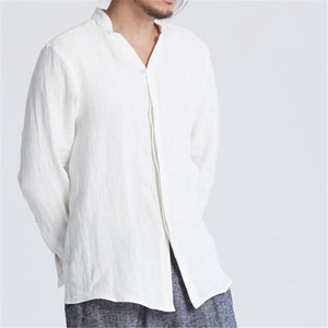 V Neck Solid Color Covered Button Loose Fit Long Sleeve Retro Shirts