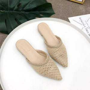 Women Pointed Toe Loe Heel Slide Sandals Summer Slippers Mule Flat Sandals