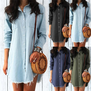 Corachic.com - Long Sleeve Denim Shirt Dress Casual Turn-down Collar Tassels Loose Dress