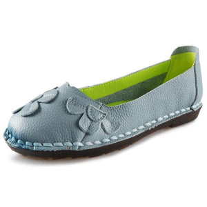 Summer Flat Shoes Women Genuine Leather Ballet Flats Soft Slip On Loafers