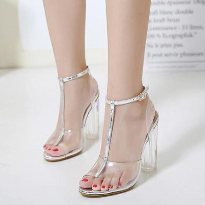 Corachic.com - PVC Jelly Sandals Crystal Leopard Open Toed High Heels Sandals