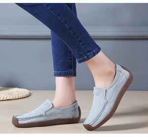 Corachic.com - Women Moccasins Flats Genuine Leather Slip On Suede Loafers Shoes