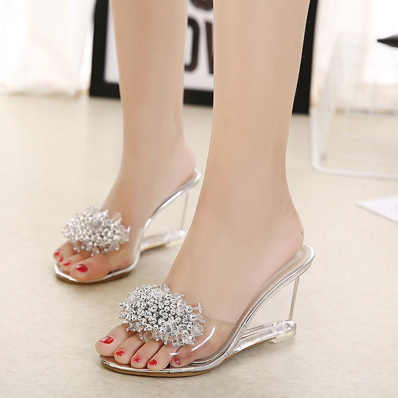 Women Crystal Wedge Sandals Sexy Transparent High Heels Glass Rhinestone Sandals