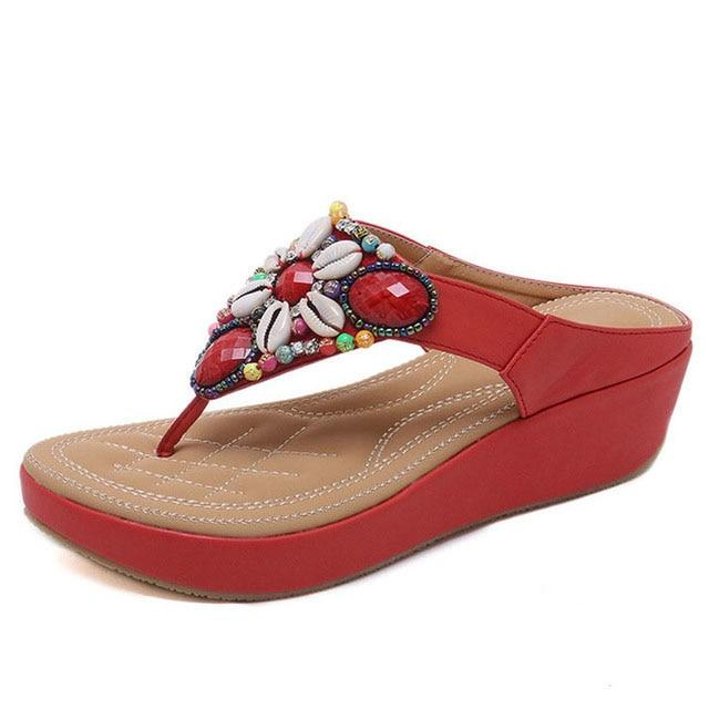 Large Size Ethnic Style Bohemian Beaded Slope Sandals Comfortable Height Heel Sandals