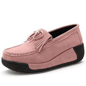 Women Genuine Leather Flats Platform Casual Creepers Slip On Loafers Moccasins Ladies Shoes