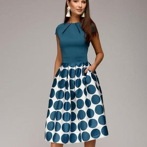 Corachic.com - Vintage Women Wave Point Short Sleeve Patchwork A-line Short Dress