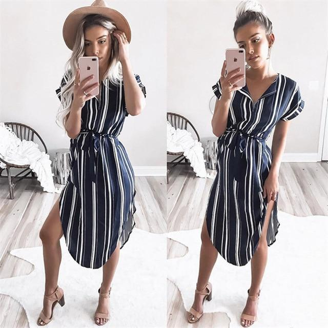 Corachic.com - Summer Women Dress Striped Dress Batwing Short Sleeve Tunic Bandage Beach Party Dress - Dresses