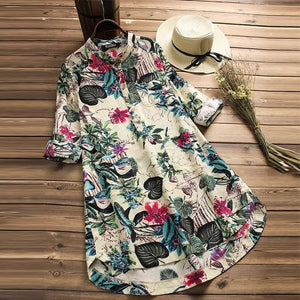Plus Size Women Floral Casual Button Dresses Vintage Linen Bohemian Dress