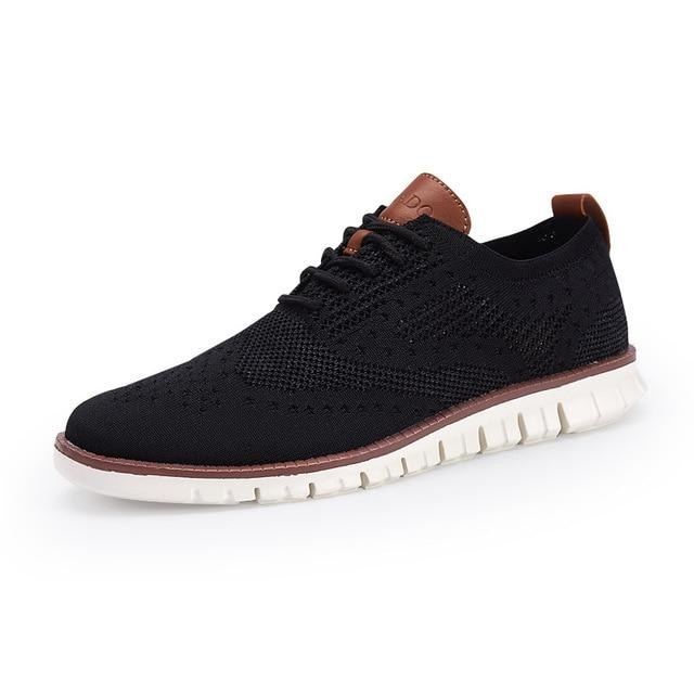 Men's Shoes Lace up  Footwear Fashion hollow breathable knitted mesh Flats Shoes