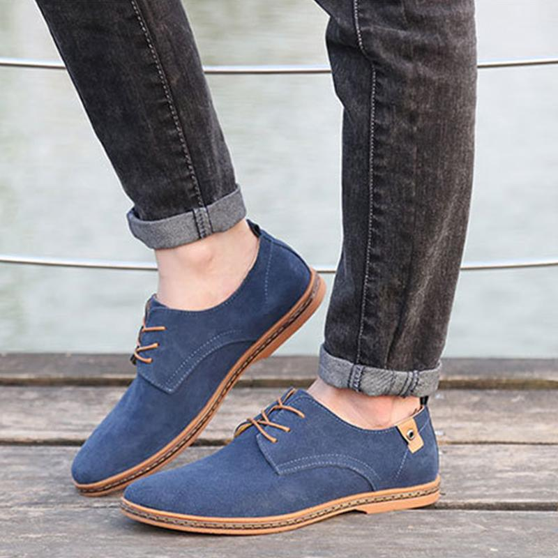 Men Casual Flat Lace-up Leather Sneakers Shoes