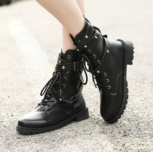 Women Motorcycle Boots Ladies Vintage Combat Boots Army Punk Goth Biker PU Leather Short Boots