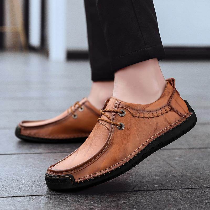 Men's PU Leather Flats Shoes Fashion Casual Lace Oxford Shoes