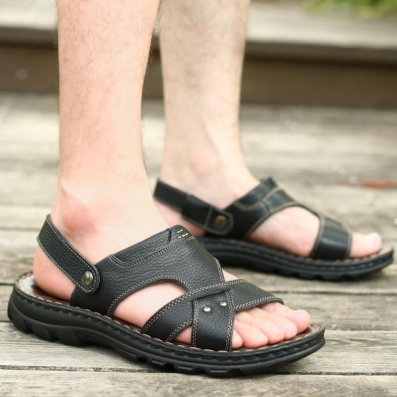 Men's Genuine Leather Summer Sandals Beach Slippers Shoes