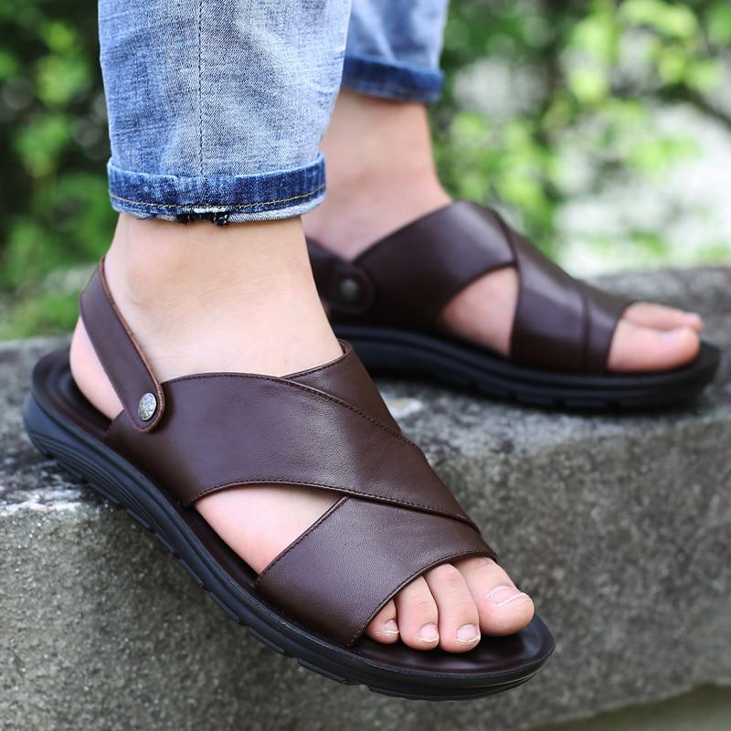 Men Genuine Leather Soft Sandals Handmade Men's Shoes Retro Sewing Casual Beach Shoes