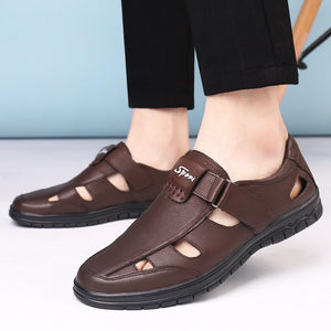 Men Fashion Genuine Leather Summer High Quality Brand Sandals Causal Shoes Outdoor Waterproof