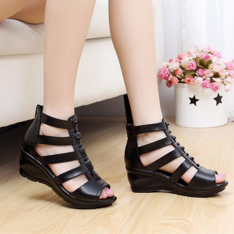 Women Summer High Tube Straps Retro Sandals Roman Style Rivets Sandal Shoes