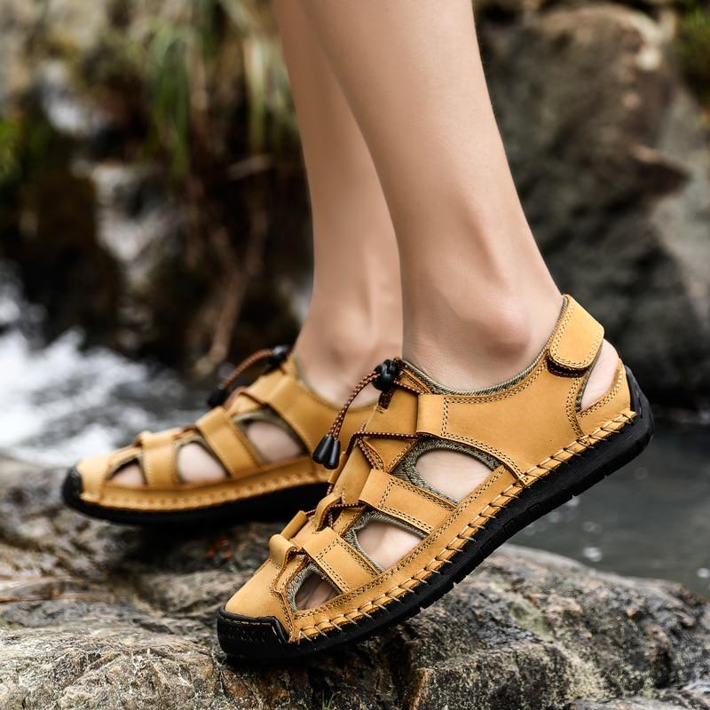 Men Genuine Leather Outdoor Sandal Shoes Classic Waterproof Walking Beach Sandals