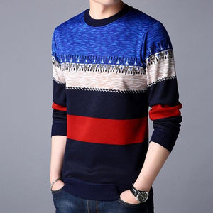 Men Casual Warm Pullover Knitted Striped Male Sweater Men Dress Thick Mens Sweaters Jersey Clothing