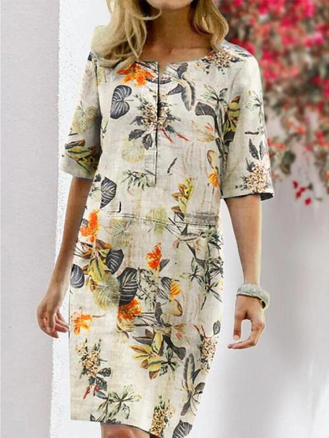 Women's T Shirt Dress Tee Dress Knee Length Dress - Half Sleeve Floral Print Summer Fall Vintage Vacation Going out 2020 Fuchsia Orange Dusty Blue S M L XL XXL XXXL XXXXL