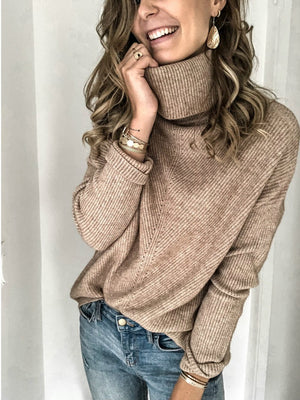 Light Khaki Cotton-Blend Solid Round Neck Long Sleeve Shirts & Tops