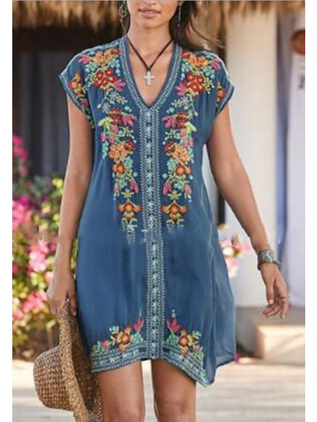 Women's Shift Dress Knee Length Dress - Short Sleeve Print Summer V Neck Casual Chinoiserie Boho 2020 Blue Purple Khaki Green Light Green Gray S M L XL XXL XXXL XXXXL XXXXXL