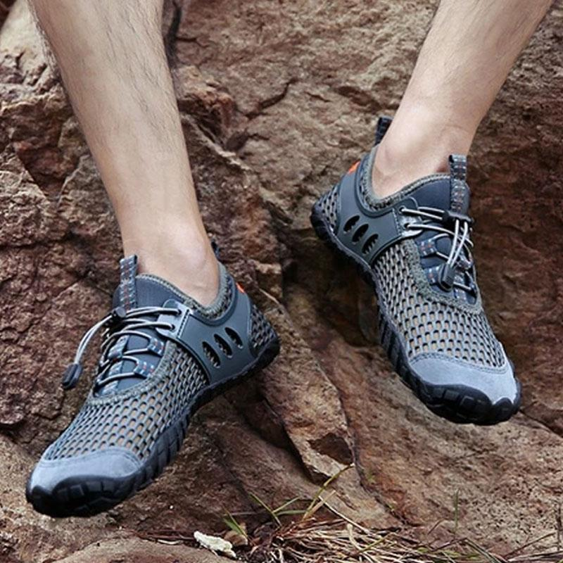 Mens Breathable Mesh Men's Shoes Outdoor Flat Shoes Men Comfortable Handmade Casual Shoes